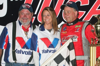 Barry Wright (left) and Steve Francis (right) in victory lane at Knoxville. (Barry Johnson)
