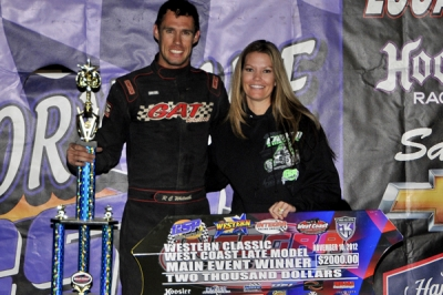 R.C. Whitwell enjoys victory lane at Canyon Speedway. (TKA Photography)