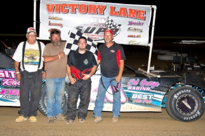 Kevin Sitton reaches victory lane at Cotton Bowl Speedway. (Dancer Motorsports)