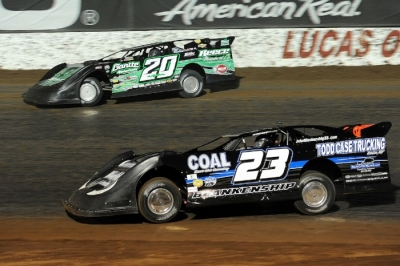 John Blankenship (23) battles Jimmy Owens (20) for the lead. (Todd Boyd)