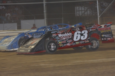 Doug Drown (63) held off Brandon Sheppard (outside) for his first Summernationals win. (Jim DenHamer)