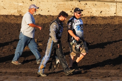 Jared Landers walks away after his Tri-City accident last month. (heathlawsonphotos.com)