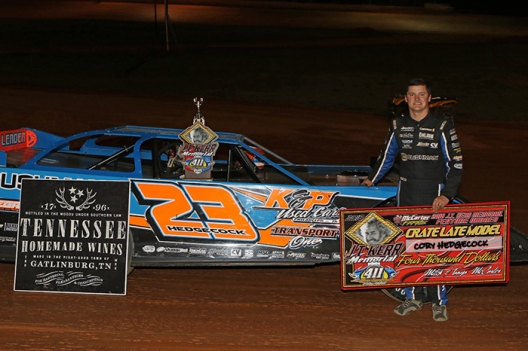 Chad Wells/wellsracingphotos.com. Cory Hedgecock picked up a $4,000 paycheck at 411 Motor Speedway.