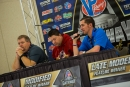 Promoter Cody Sommer (right) speaks at the drivers' meeting. (heathlawsonphotos.com)