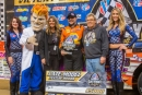 Gordy Gundaker's parents Kevin and Tammy join him in victory lane after his Dec. 15 VP Racing Fuels Gateway Dirt Nationals victory in St. Louis. (heathlawsonphotos.com)