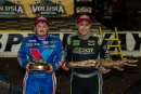 Brandon Sheppard (left) won the Feb. 17 World of Outlaws Craftsman Late Model Series-sanctioned DIRTcar Nationals finale while runner-up Chris Madden (right) captured the week's overall points crown at Volusia Speedway Park. (heathlawsonphotos.com)