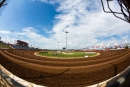 A fish-eye view of Lucas Oil Speedway in Wheatland, Mo., before the start of May 24's Show-Me 100 weekend opener. (heathlawsonphotos.com)