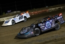 Jonathan Davenport (49) battled with Scott Bloomquist (0) to emerge victorious in the July 19 Lucas Oil Late Model Dirt Series-sanctioned Malvern Bank Go 50 at I-80 Speedway in Greenwood, Neb. (heathlawsonphotos.com)