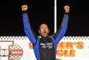 Bill Leighton Jr. celebrates his $5,300 victory in the July 19 Malvern Bank Super Late Model Series feature at I-80 Speedway in Greenwood, Neb. (Todd Boyd)