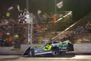 Brian Shirley of Chatham, Ill., crosses under the flagstand at Tri-City Speedway to complete his fifth MARS Racing Series victory of the season. (Connor Hamilton)