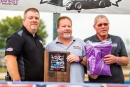 Arkansas standout Wendell Wallace (center) was among 2018's inductees into the National Dirt Late Model Hall of Fame at Aug. 11's ceremonies at Florence Speedway. (heathlawsonphotos.com)