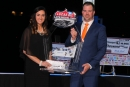 Jonathan Davenport picked up his Lucas Oil Dirt Late Model Series championship trophy during the series banquet Dec. 7 at Lucas Oil Stadium in Indianapolis, Ind. (DirtonDirt.com)