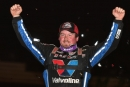 Brandon Sheppard of New Berlin, Ill., celebrates his fifth straight World of Outlaws victory and his first career win at Tennessee's Duck River Raceway Park. (dt52photos.com)