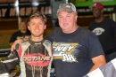 Trent Ivey (left) is joined by his father Petey Ivey on May 17 after his first career Carolina Clash victory. Ivey earned $4,000 at Carolina Speedway in Gastonia, N.C. (Blake Harris)