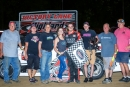 Daryn Klein's team celebrates May 18's $1,500 Midwest Big 10 Series victory at Highland (Ill.) Speedway. He started sixth. (stlracingphotos.com)