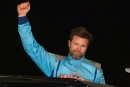 Gregg Satterlee celebrates his $3,000 victory in the May 24 Grum-Burket Tribute at Bedford (Pa.) Speedway. (Jason Walls/wrtspeedwerx.com)