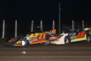 Dustin Strand (71) led late, but Donny Schatz (15) fought back past Aug. 16 at River Cities Speedway in Grand Forks, N.D., for an Northern LateModel Racing Association victory. (speedway-shots.com)