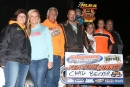 Chad Becker's team celebrates his Aug. 18 victory at Sheyenne Speedway in Lisbon, N.D., with the Northern LateModel Racing Association. (speedway-shots.com)