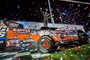 Ricky Weiss celebrates his $7,000 Knoxville Nationals preliminary feature victory. (heathlawson photos.com)