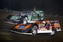 Max Blair (111) goes around early leader David Scott (4) en route to Sept. 14's $5,000 victory in the September Sweep at Raceway 7 in Conneaut, Ohio. (Jim Balentine)