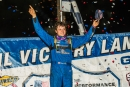 Hudson O'Neal celebrates his first career Jackson 100 victory at his home Brownstown Speedway. (heathlawsonphotos.com)
