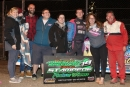 Cole Schill and his supporters enjoy victory lane Sept. 21 at Jamestown (N.D.) Speedway after his $4,000 Stock Car Stampede victory in the Late Model division. (speedway-shots.com)