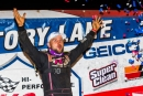 Michael Page celebrates Oct. 12's $12,000 Lucas Oil Late Model Dirt Series victory at Dixie Speedway in Woodstock, Ga. (heathlawsonphotos.com)