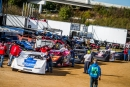 Cars form into a line awaiting pre-race inspection on opening night of the Oct. 18-19 Rhino Ag Dirt Track World Championship at Portsmouth (Ohio) Raceway Park. (heathlawsonphotos.com)