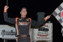 Ryan Unzicker celebrates his second career win in Peoria Speedway's Illinois State Championship. (Nick Jensen)