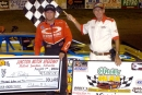 Al Purkey in victory lane at Nebraska's Junction Motor Speedway on Aug. 7, 2004 after winning a $3,000 event co-sanctioned by the MLRA and NCRA tours.  (Jerry Jacobs)