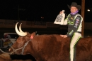 Brian Shirley climbed atop a steer in victory lane Jan. 11 at FK Rod Ends Arizona Speedway's Keyser Manufacturing Wild West Shootout opener. (photofinishphotos.com)