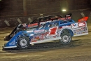 Brandon Sheppard (1) didn't lead a lap but inherited Feb. 12's World of Outlaws Morton Buildings Late Model Series victory at Volusia after Dennis Erb Jr.'s disqualification for failing to report to postrace tech inspection. (Jim DenHamer)