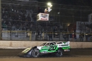 Jimmy Owens of Newport, Tenn., takes the checkered flag Saturday at Volusia Speedway Park to score his third straight DIRTcar Nationals main event victory. (stlracingphotos.com)