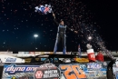 Ricky Thornton Jr. climbs atop his car to celebrate May 23's $20,000 World of Outlaws Morton Buildings Late Model Series victory at Jackson (Minn.) Motorplex. (jacynorgaardphotography.com)