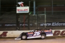 Brandon Overton takes the $10,000 checkers June 5 at Eldora Speedway in a prelim for the Dirt Late Model Stream Invitational. (Zach Yost)
