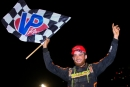 Josh Rice celebrates his $4,000 Schaeffer's Iron-Man Series victory on Friday, June 5 at Wartburg (Tenn.) Speedway. (joshjamesartwork.com)