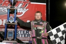 Rusty Schlenk of McClure, Ohio, pocketed $10,000 for winning Merritt Speedway's DIRTcar-sanctioned Allstar Performance Challenge Series race on July 4. (Steve Datema)