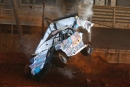 Caleb Ashby went for a wild ride July 2 at Clarksville (Tenn.) Speedway. He wasn't injured. (joshjamesartwork.com)