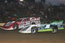 Tyler Erb (1) works past Bobby Pierce (32) in the final laps July 8 at Brownstown (Ind.) Speedway to win the DIRTcar Summer Nationals opener. (Todd Battin)