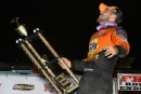 Gordy Gundaker celebrates in Fairbury (Ill.) Speedway's victory lane July 11 after his $10,000 DIRTcar Summer Nationals. (brendonbauman.com)