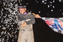 Virginia driver Jason Miller celebrates his first Ultimate Southeast Series victory July 31 at Fayetteville (N.C.) Motor Speedway. (jbhotshots.com)
