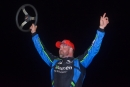 Jonathan Davenport celebrates Friday's $4,000 Schaeffer's Iron-Man Series triumph at Ponderosa Speedway in Junction City, Ky. (Ryan Roberts)