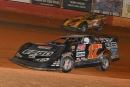 Dale McDowell (17m) regains the lead for good from Donald McIntosh (7m) for Aug. 8's Schaeffer's Iron-Man Late Model Series victory at Smoky Mountain Speedway in Maryville, Tenn. (mrmracing.net)