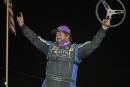 Brandon Williams celebrates after scoring a $7,500 Crate Racin' USA victory at Thunderhill Speedway. (Brian McLeod/Dirt Scenes)