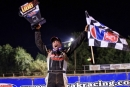 Brent Trimble celebrates his $3,000 UBB 29 Miners Memorial victory at I-77 Speedway in Ripley, W.Va. (Jeff Hurst)