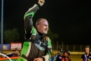 Jimmy Owens celebrates Aug. 12 at Florence Speedway in Union, Ky., after his $12,000 Ralph Latham Memorial victory on the Lucas Oil Late Model Dirt Series. (heathlawsonphotos.com)