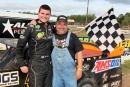 Nick Kurtz and his father after Nick's Sept. 13 victory at Thunderbird Raceway in Muskegon, Mich., which he dedicated to his late grandfather. (Dirt XTC)