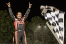 Freddie Carpenter celebrates his $5,000 Weekend on the Hill victory at Hilltop Speedway in Millersburg, Ohio, on Saturday, Sept. 19, 2020. (Zach Yost)