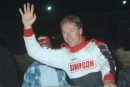 Rick Eckert emerges from his car after winning the Mid-Atlantic Championship Series-sanctioned Winchester 200 at Winchester (Va.) Speedway on Sept. 30, 2000. It was Eckert's only career MACS victory. (Todd Turner)