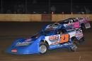 Winner Michael Rouse (23) battles early with Dustin Mitchell (32), who finished third in Oct. 17's FUEL Series event at County Line Raceway in Elm City, N.C. (redclayrebel.smugmug.com)